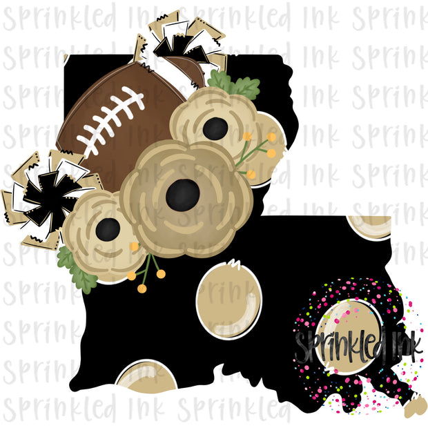 Watercolor PNG Louisiana Saints Black and Gold Floral Football State Download File - Sprinkled Ink Digital Designs
