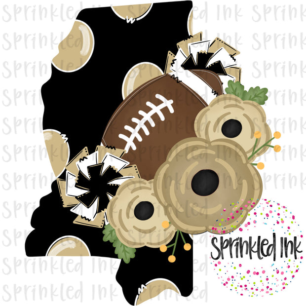 Watercolor PNG MISS Black and Gold Floral Football State Download File - Sprinkled Ink Digital Designs