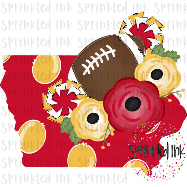 Watercolor PNG Iowa Cyclones Red and Yellow Floral Football State Download File - Sprinkled Ink Digital Designs