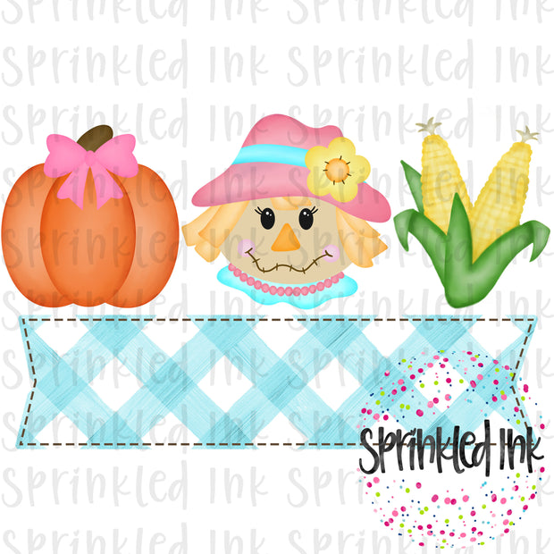 Watercolor PNG Fall Scarecrow Girl Trio with Nameplate Digital Download File - Sprinkled Ink Digital Designs