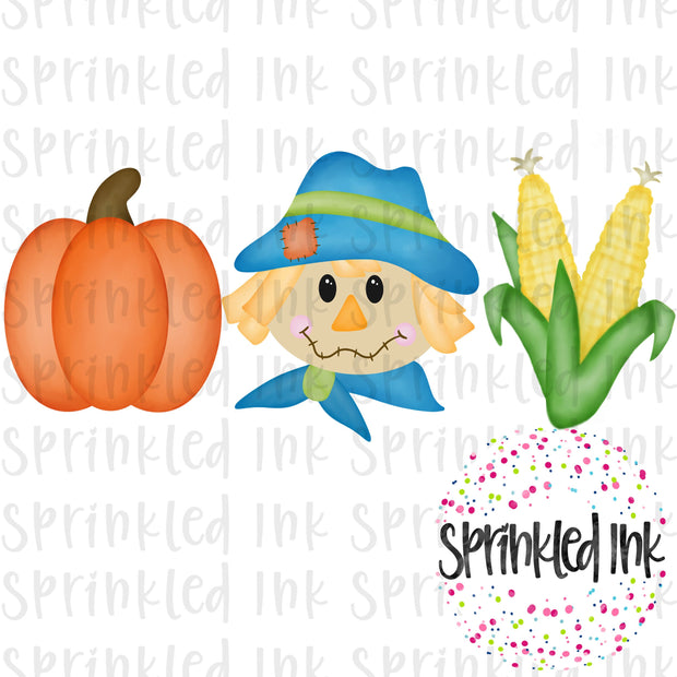 Watercolor PNG Fall Scarecrow Boy Trio Digital Download File - Sprinkled Ink Digital Designs
