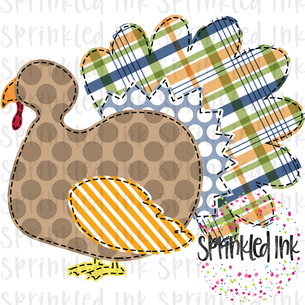 Watercolor PNG Faux Applique Fall Plaid Turkey Boy Digital Download File - Sprinkled Ink Digital Designs