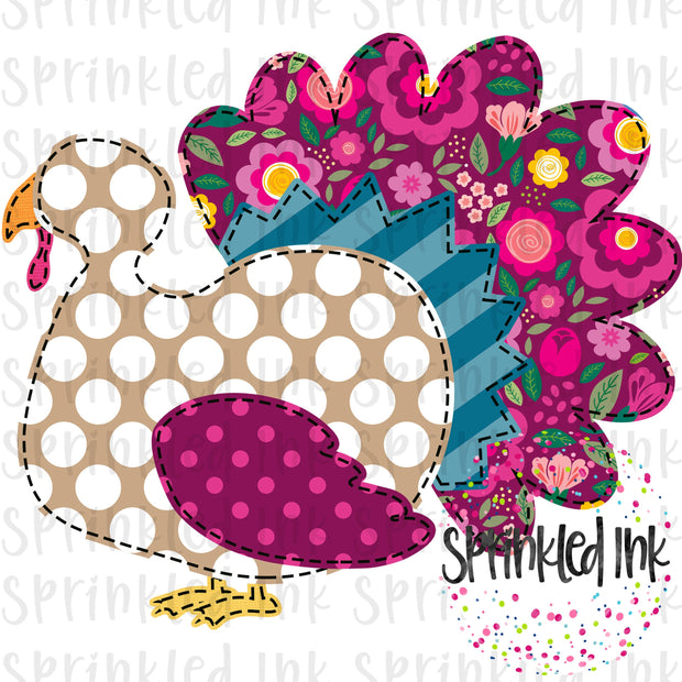 Watercolor PNG Faux Applique Fall Floral MJ Turkey Girl Digital Download File - Sprinkled Ink Digital Designs