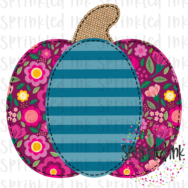 Watercolor PNG Faux Applique Fall Floral M2M Matilda Jane Pumpkin Digital Download File - Sprinkled Ink Digital Designs