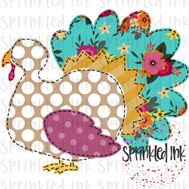 Watercolor PNG Faux Applique M2M Matilda Jane Picture Day Fall Turkey Digital Download File - Sprinkled Ink Digital Designs