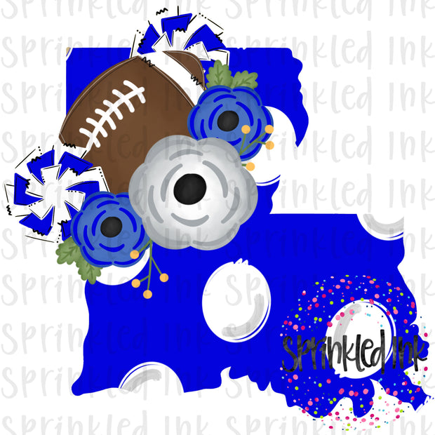 Watercolor PNG LOUISIANA Royal and White Floral Football State Download File - Sprinkled Ink Digital Designs