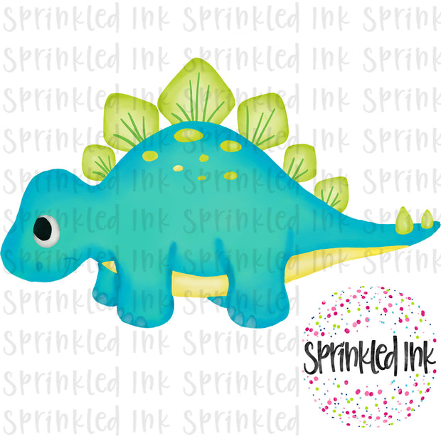 Watercolor PNG Aqua Stegosaurus Download File - Sprinkled Ink Digital Designs