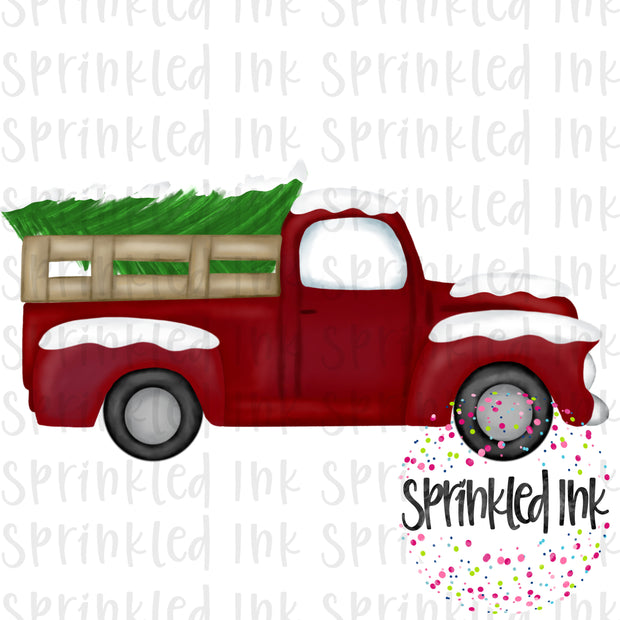 Watercolor PNG Vintage Truck with Snow Covered Tree Download File - Sprinkled Ink Digital Designs