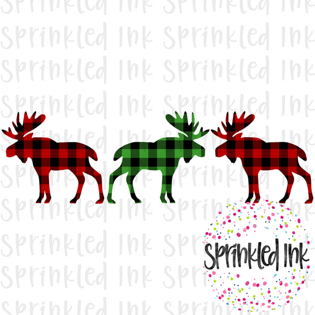 Watercolor PNG Buffalo Check Moose Trio Download File - Sprinkled Ink Digital Designs