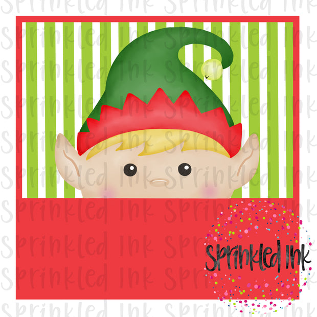 Watercolor PNG Elf Boy Peeker Download File - Sprinkled Ink Digital Designs