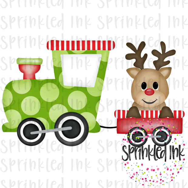 Watercolor PNG Reindeer Train Download File - Sprinkled Ink Digital Designs