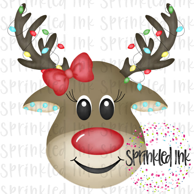 Watercolor PNG Reindeer Girl with Lights and Bow Download File - Sprinkled Ink Digital Designs