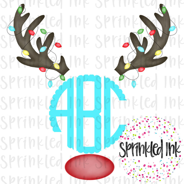 Watercolor PNG Reindeer Rudolph Monogram (monogram not included) Download File - Sprinkled Ink Digital Designs