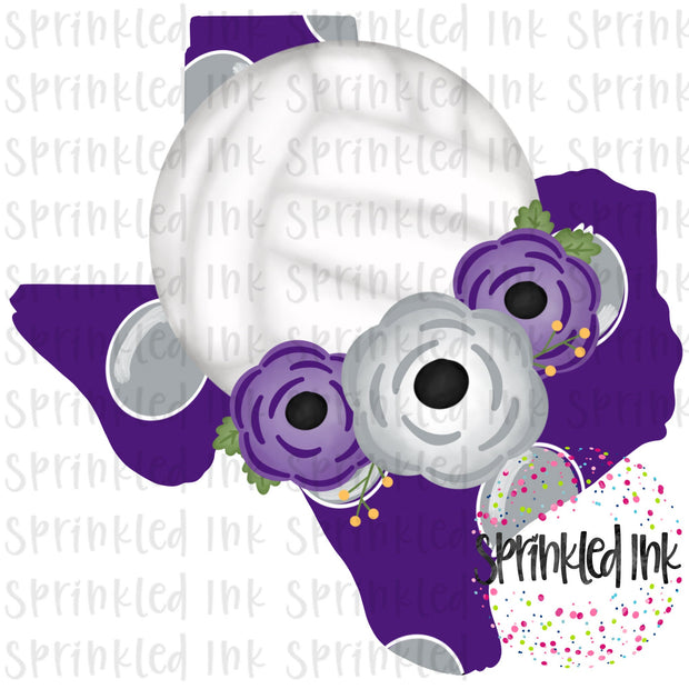 Watercolor PNG TEXAS TCU Purple Grey Floral Volleyball State Download File - Sprinkled Ink Digital Designs