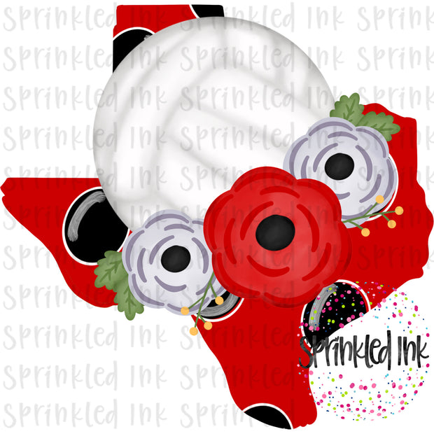 Watercolor PNG TEXAS Tech Black and Red Floral Volleyball State Download File - Sprinkled Ink Digital Designs