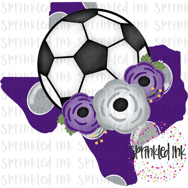 Watercolor PNG TEXAS TCU Purple Grey Floral Soccer State Download File - Sprinkled Ink Digital Designs