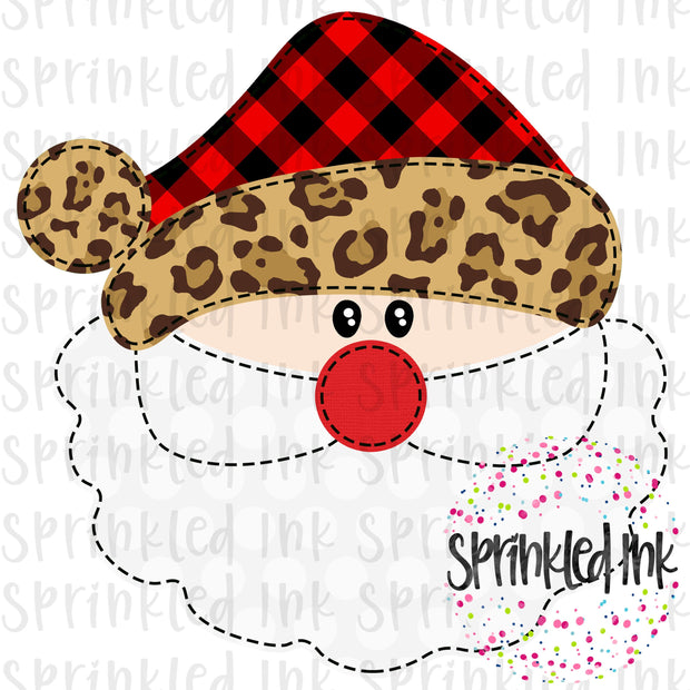 Watercolor PNG Faux Applique Santa Buffalo Plaid and Leopard Hat Download File - Sprinkled Ink Digital Designs
