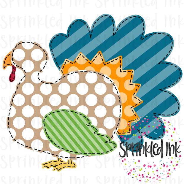 Watercolor PNG Faux Applique Boys Stripe Fall Turkey Digital Download File - Sprinkled Ink Digital Designs