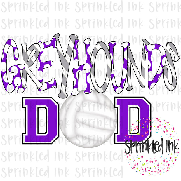 Watercolor PNG Purple and Grey GREYHOUNDS Dad Volleyball Download File - Sprinkled Ink Digital Designs