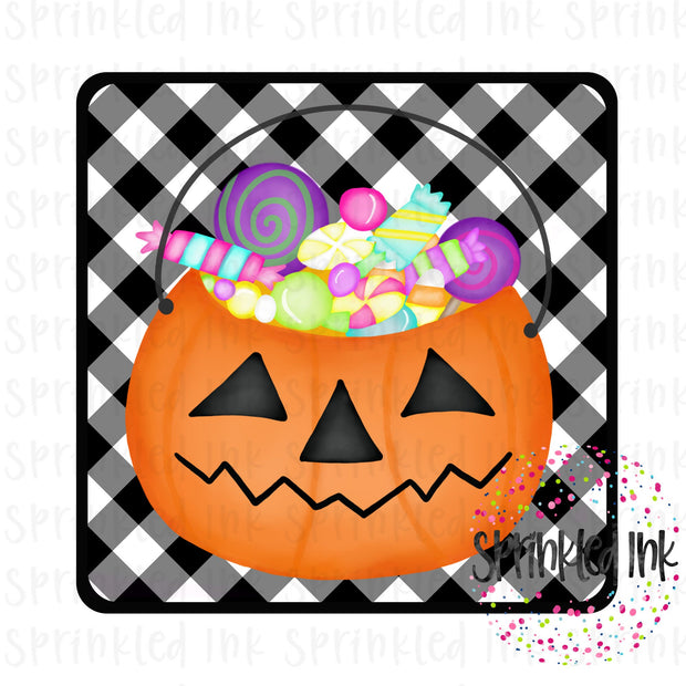 Watercolor PNG Halloween Candy Pail Bucket Digital Download File - Sprinkled Ink Digital Designs