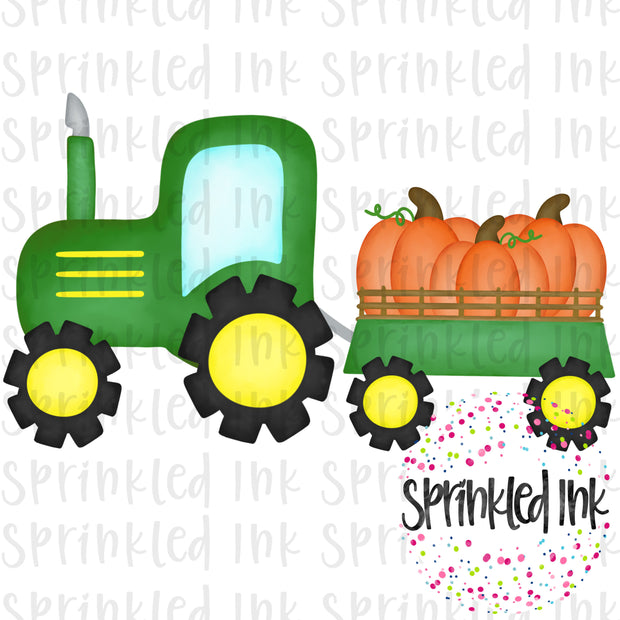Watercolor PNG Green Tractor with Pumpkin Trio Download File - Sprinkled Ink Digital Designs