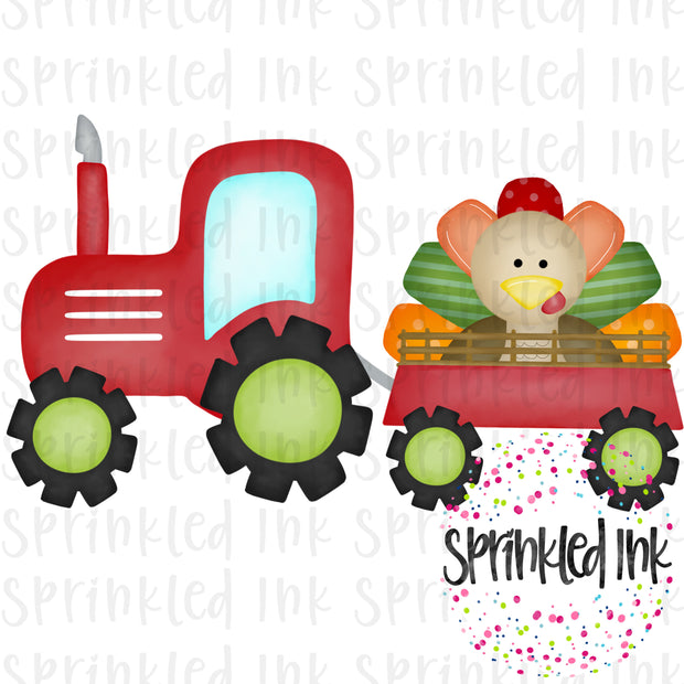 Watercolor PNG Red Tractor with Turkey Download File - Sprinkled Ink Digital Designs
