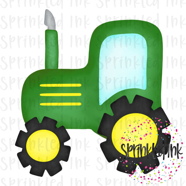 Watercolor PNG Green Tractor Download File - Sprinkled Ink Digital Designs