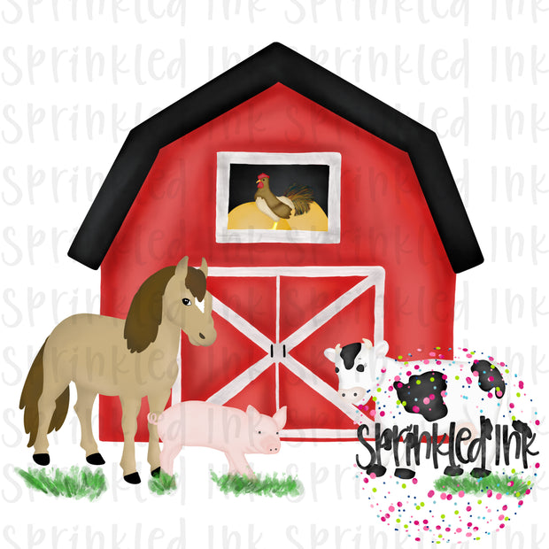 Watercolor PNG Red Barnyard Animals Farm Download File - Sprinkled Ink Digital Designs
