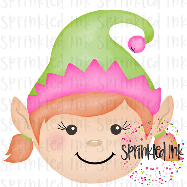 Watercolor PNG Elf Girl with Red Hair Download File - Sprinkled Ink Digital Designs