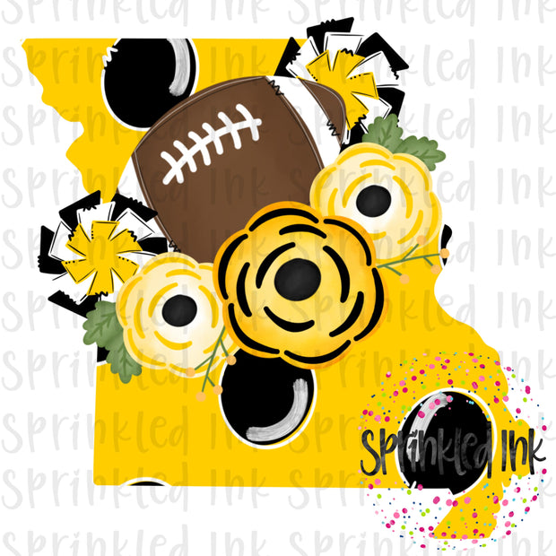 Watercolor PNG MISSOURI Black and Yellow Floral Football State Download File - Sprinkled Ink Digital Designs