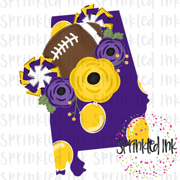 Watercolor PNG ALABAMA Purple and Gold Tigers Floral Football State Download File - Sprinkled Ink Digital Designs