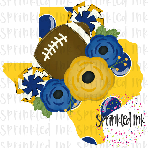Watercolor PNG TEXAS Royal and Gold Floral Football State Download File - Sprinkled Ink Digital Designs