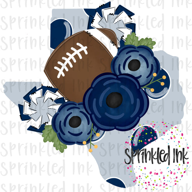 Watercolor PNG TEXAS Cowboys Floral Football State Download File - Sprinkled Ink Digital Designs
