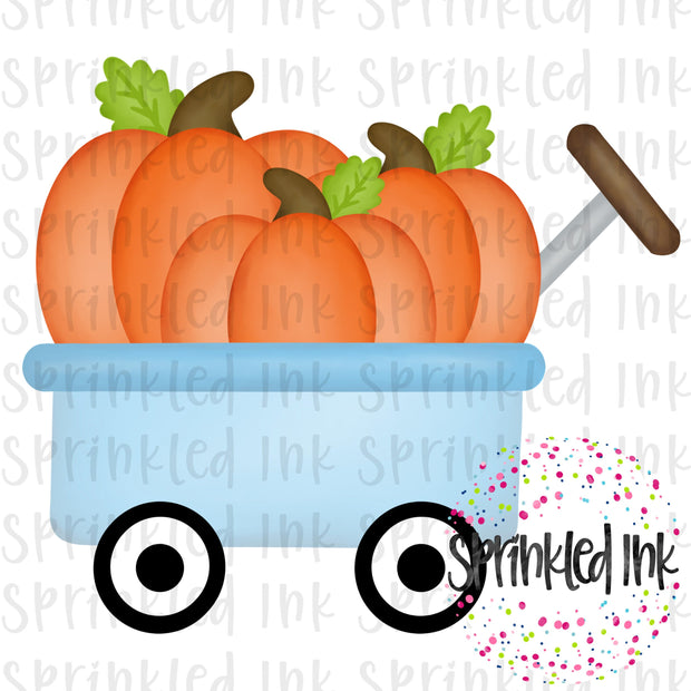 Watercolor PNG Pumpkins in Blue Wagon Digital Download File - Sprinkled Ink Digital Designs