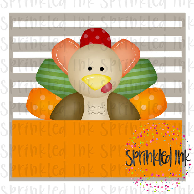 Watercolor PNG Thanksgiving Turkey Peeker Square Digital Download File - Sprinkled Ink Digital Designs