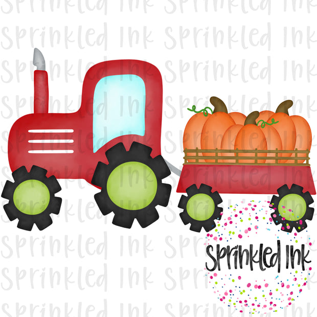 Watercolor PNG Red Tractor with Pumpkin Trio Download File - Sprinkled Ink Digital Designs