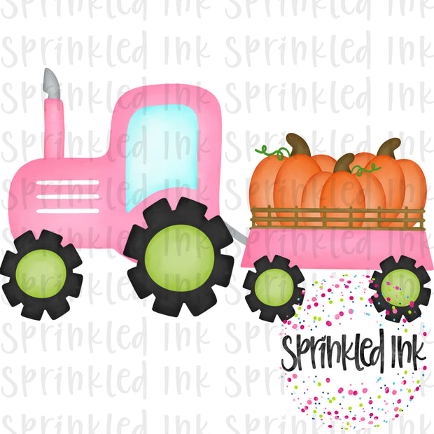 Watercolor PNG Pink Tractor with Pumpkin Trio Download File - Sprinkled Ink Digital Designs