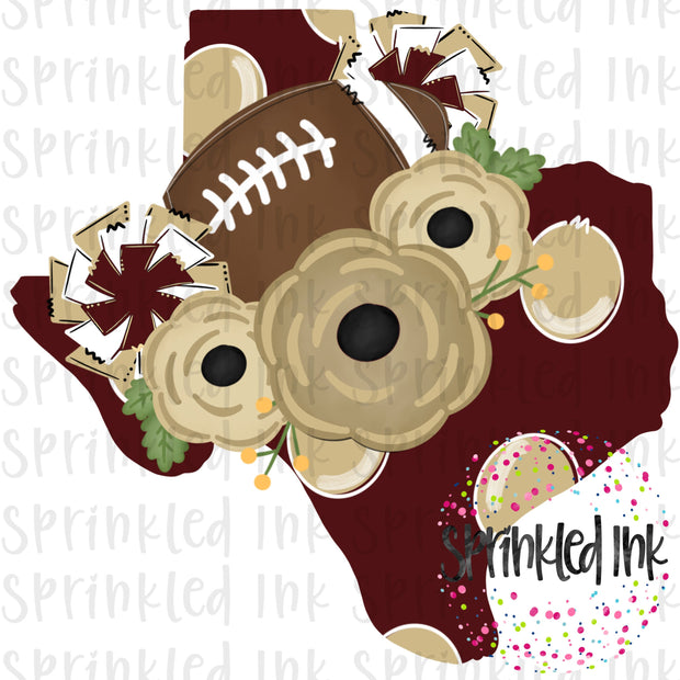 Watercolor PNG TEXAS State Maroon and Gold Floral Football State Download File - Sprinkled Ink Digital Designs