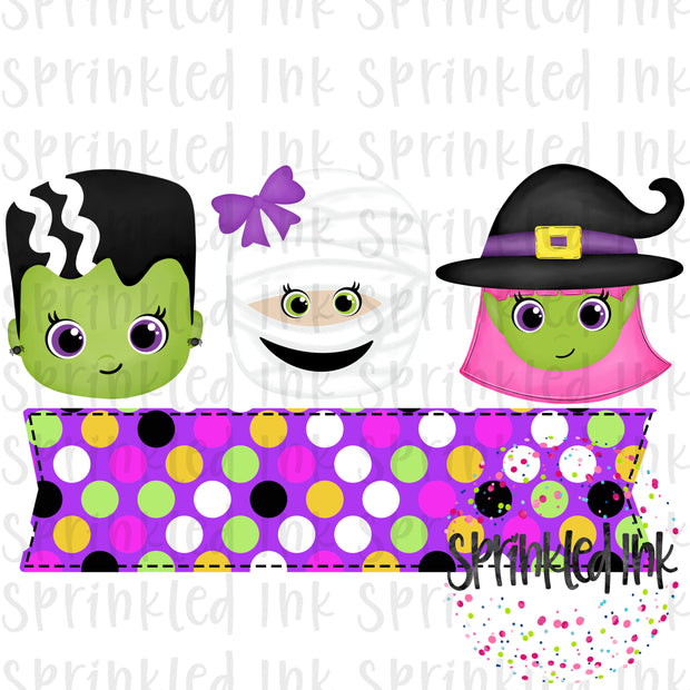 Watercolor PNG Girls Halloween Trio with Nameplate Digital Download File - Sprinkled Ink Digital Designs