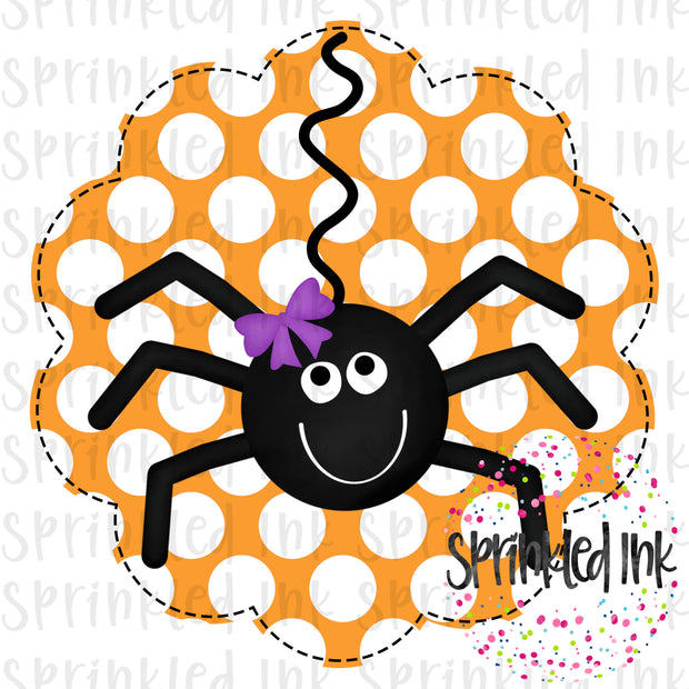 Watercolor PNG Halloween Ms. Spider Scallop Background Digital Download File - Sprinkled Ink Digital Designs