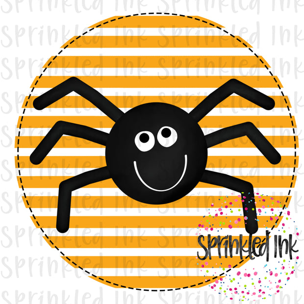 Watercolor PNG Halloween Spider Circle Background Digital Download File - Sprinkled Ink Digital Designs