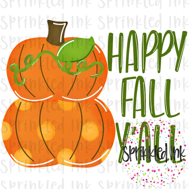 Watercolor PNG Happy Fall Yall Pumpkin Stack Digital Download File - Sprinkled Ink Digital Designs