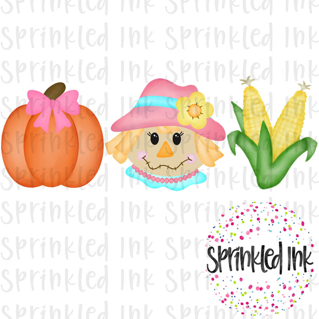 Watercolor PNG Fall Scarecrow Girl Trio Digital Download File - Sprinkled Ink Digital Designs