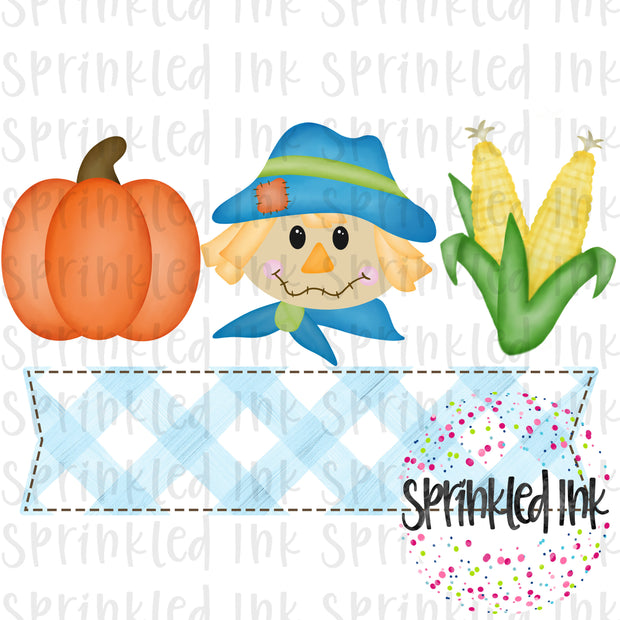 Watercolor PNG Fall Scarecrow Boy Trio with Nameplate Digital Download File - Sprinkled Ink Digital Designs
