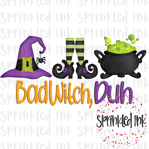 Watercolor PNG Halloween Bad Witch, Duh Trio Digital Download File - Sprinkled Ink Digital Designs