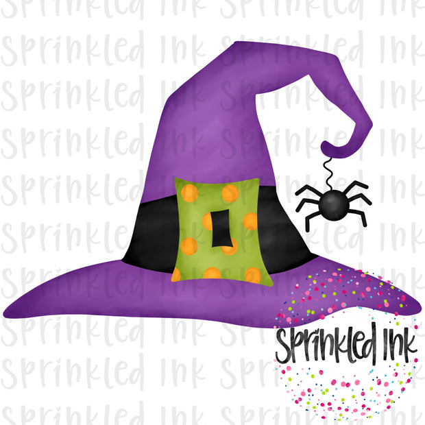 Watercolor PNG Halloween Witch Hat Digital Download File - Sprinkled Ink Digital Designs