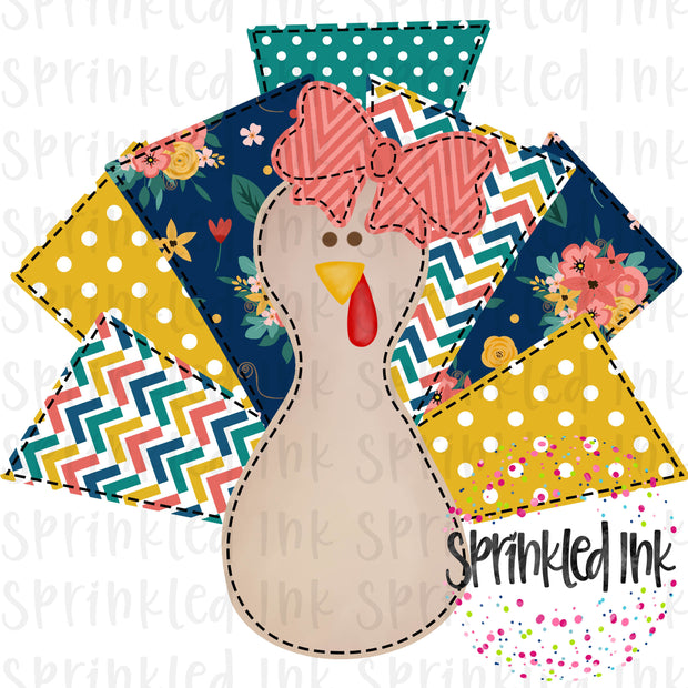 Watercolor PNG Faux Applique Turkey Lurkey Girl Navy Floral Digital Download File - Sprinkled Ink Digital Designs