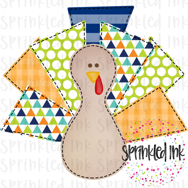 Watercolor PNG Faux Applique Turkey Lurkey Boy Bright Geometric Digital Download File - Sprinkled Ink Digital Designs