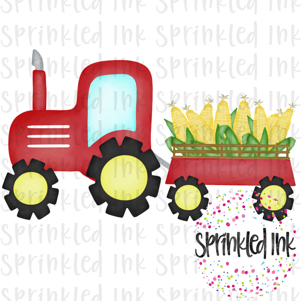 Watercolor PNG Red Tractor with Corn Download File - Sprinkled Ink Digital Designs