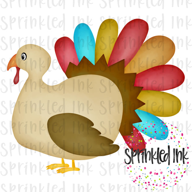 Watercolor PNG Fall Turkey Boy Digital Download File - Sprinkled Ink Digital Designs